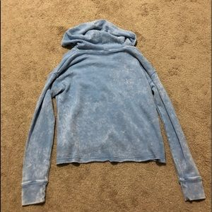 American Eagle Outfitters Tops - Distressed blue lace up crop sweatshirt